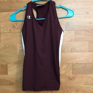 YOUTH MEDIUM MAROON AND WHITE COMPRESSION TOP